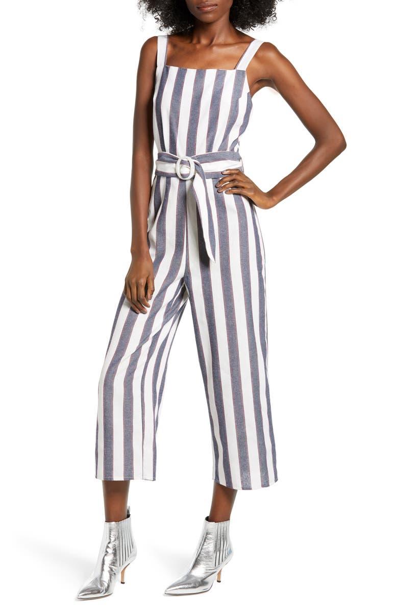 THE FIFTH LABEL Stripe Crop Jumpsuit, Main, color, 400