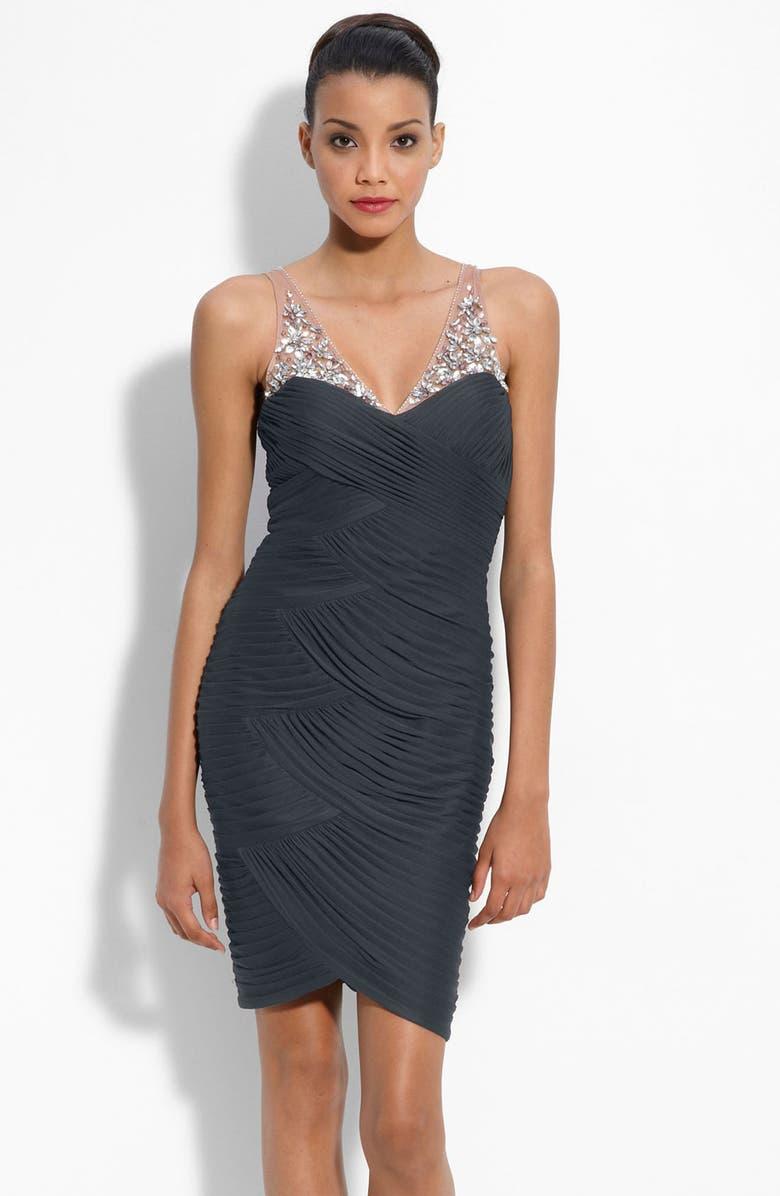 ADRIANNA PAPELL Illusion Bodice Mesh Sheath Dress, Main, color, 020