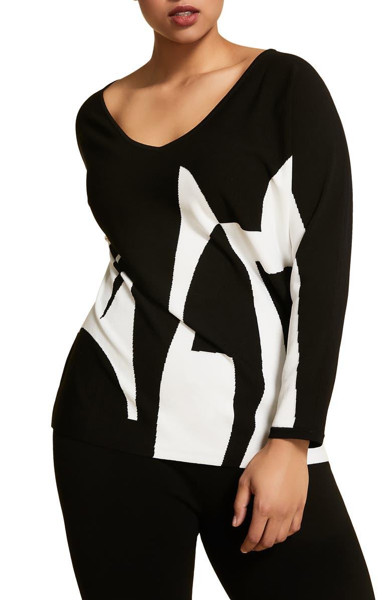 MARINA RINALDI Artista Letter Pattern Sweater, Main, color, BLACK