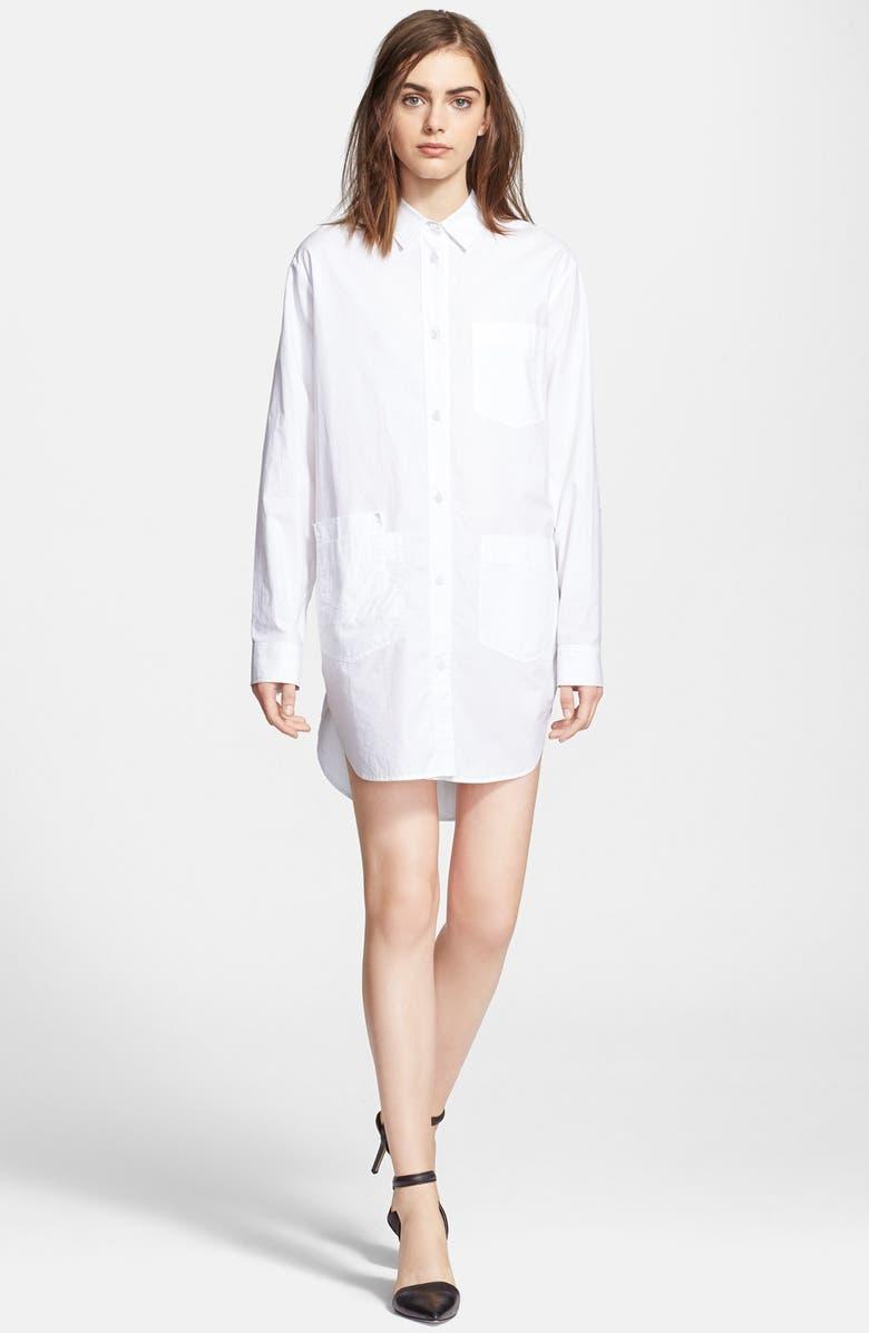 ALEXANDERWANG.T T by Alexander Wang Cotton Poplin Shirtdress, Main, color, 100