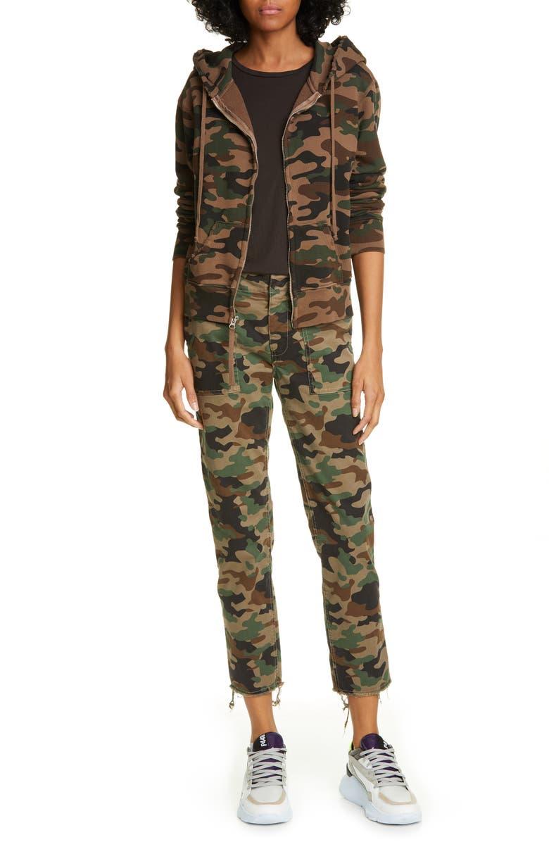 NILI LOTAN Jenna Camo Print Crop Pants, Main, color, COYOTE BROWN CAMOUFLAGE