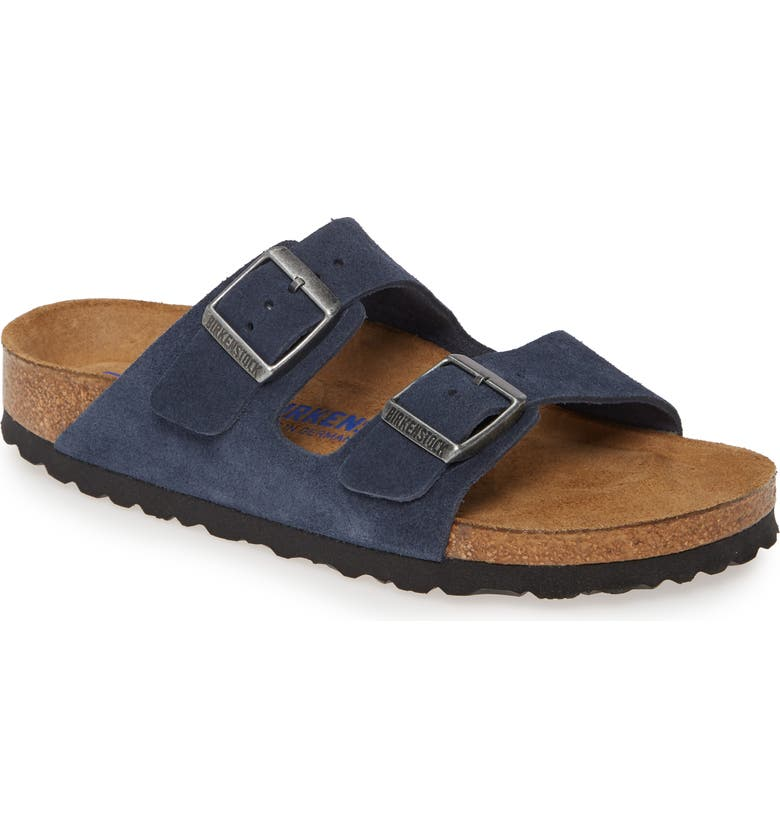 BIRKENSTOCK 'Arizona' Soft Footbed Suede Sandal, Main, color, NIGHT SUEDE