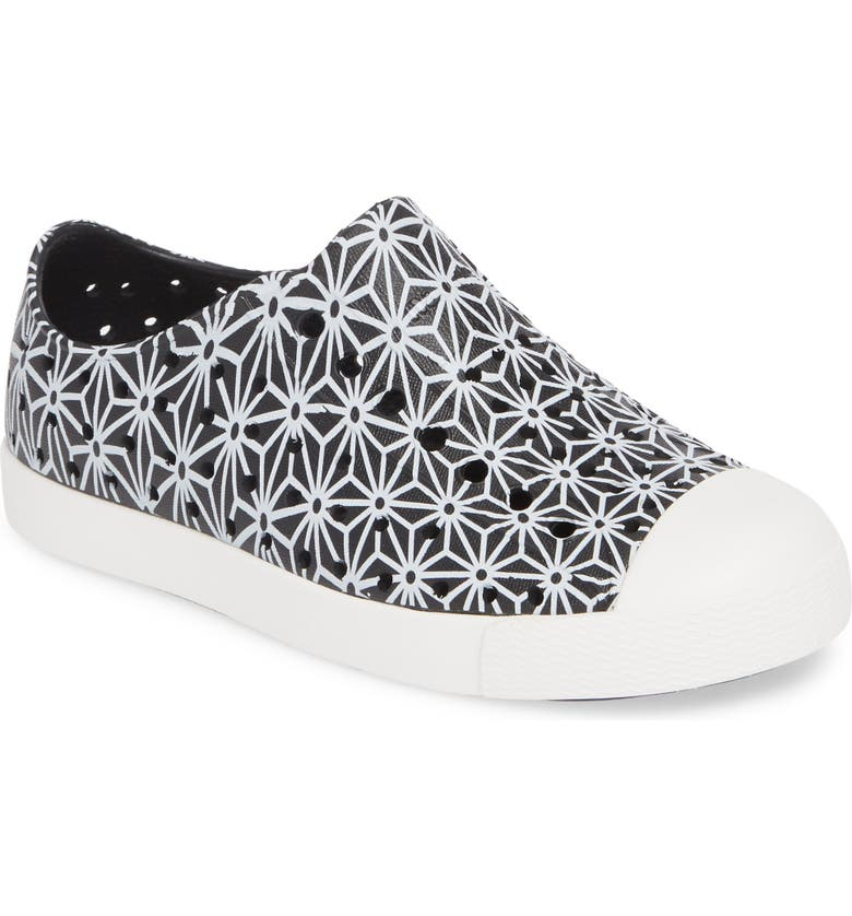 NATIVE SHOES Jefferson Quartz Slip-On Vegan Sneaker, Main, color, JIFFY BLACK/ WHITE/ ASANOHA