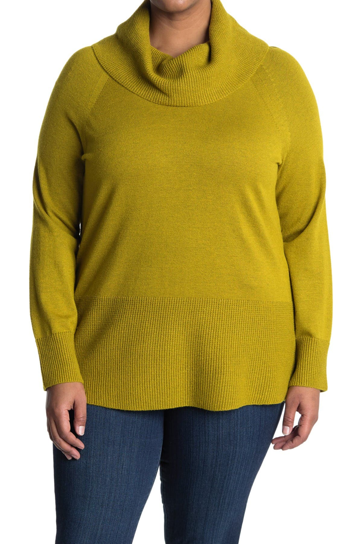 Image of Cyrus Long Cowl Neck Sweater With Textured Trim