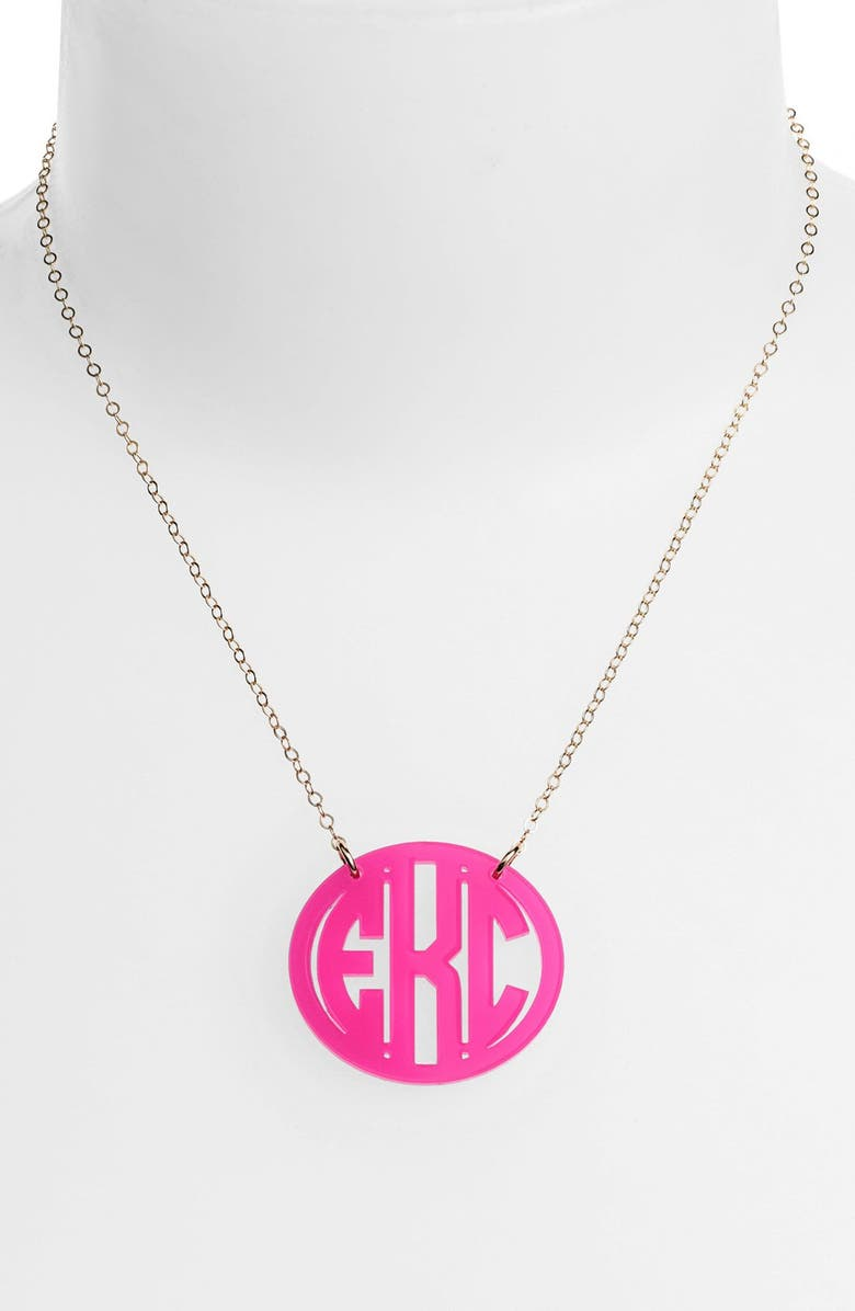 MOON AND LOLA Medium Oval Personalized Monogram Pendant Necklace, Main, color, 670
