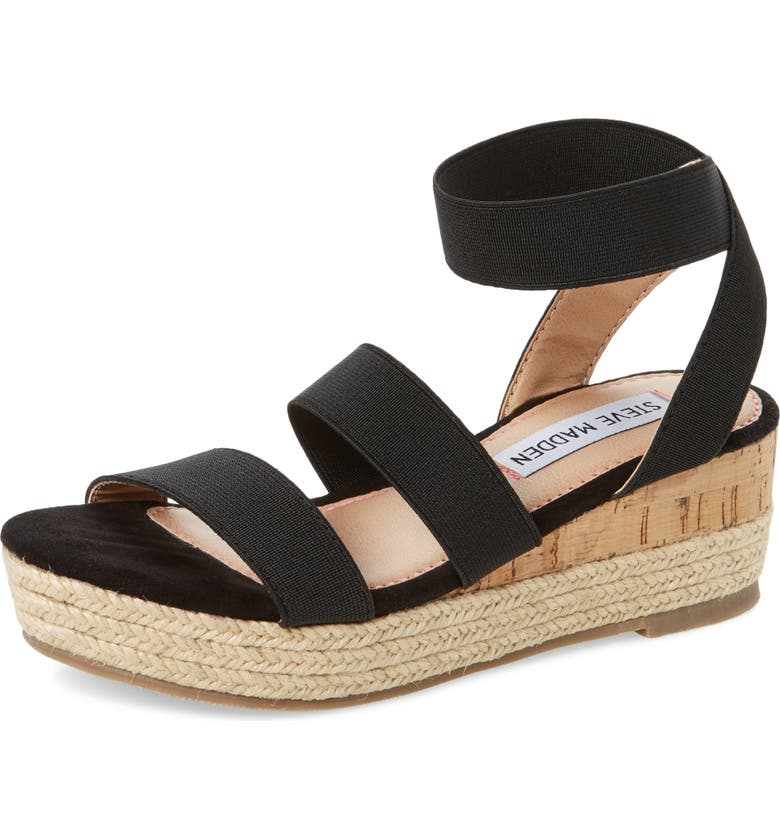 STEVE MADDEN JBandi Wedge Sandal, Main, color, BLACK