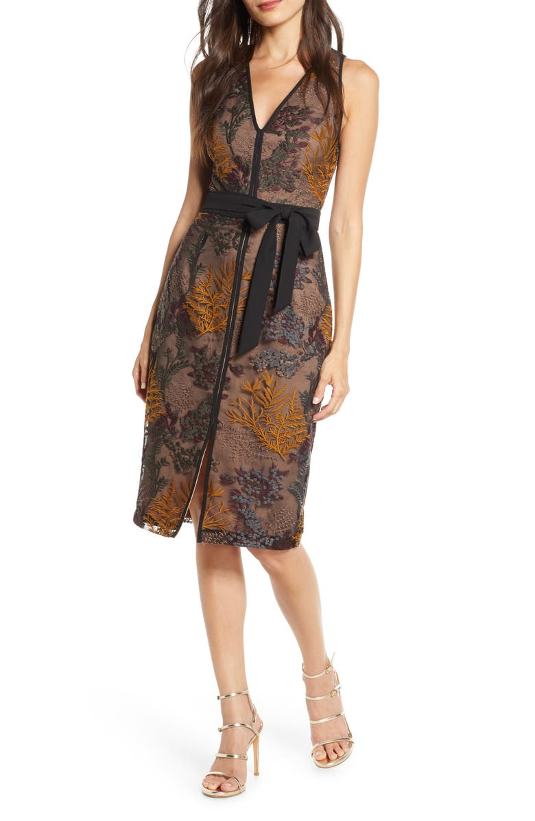 HARLYN Embroidered Cocktail Sheath Dress, Main, color, MUSTARD/ GREEN