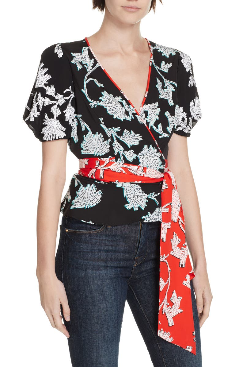 DVF Justine Contrast Detail Wrap Blouse, Main, color, 001