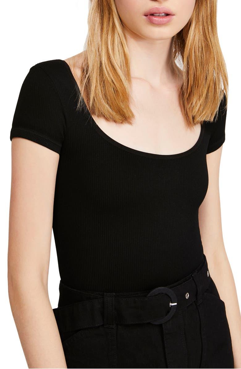 BDG URBAN OUTFITTERS Ella Ribbed Bodysuit, Main, color, BLACK