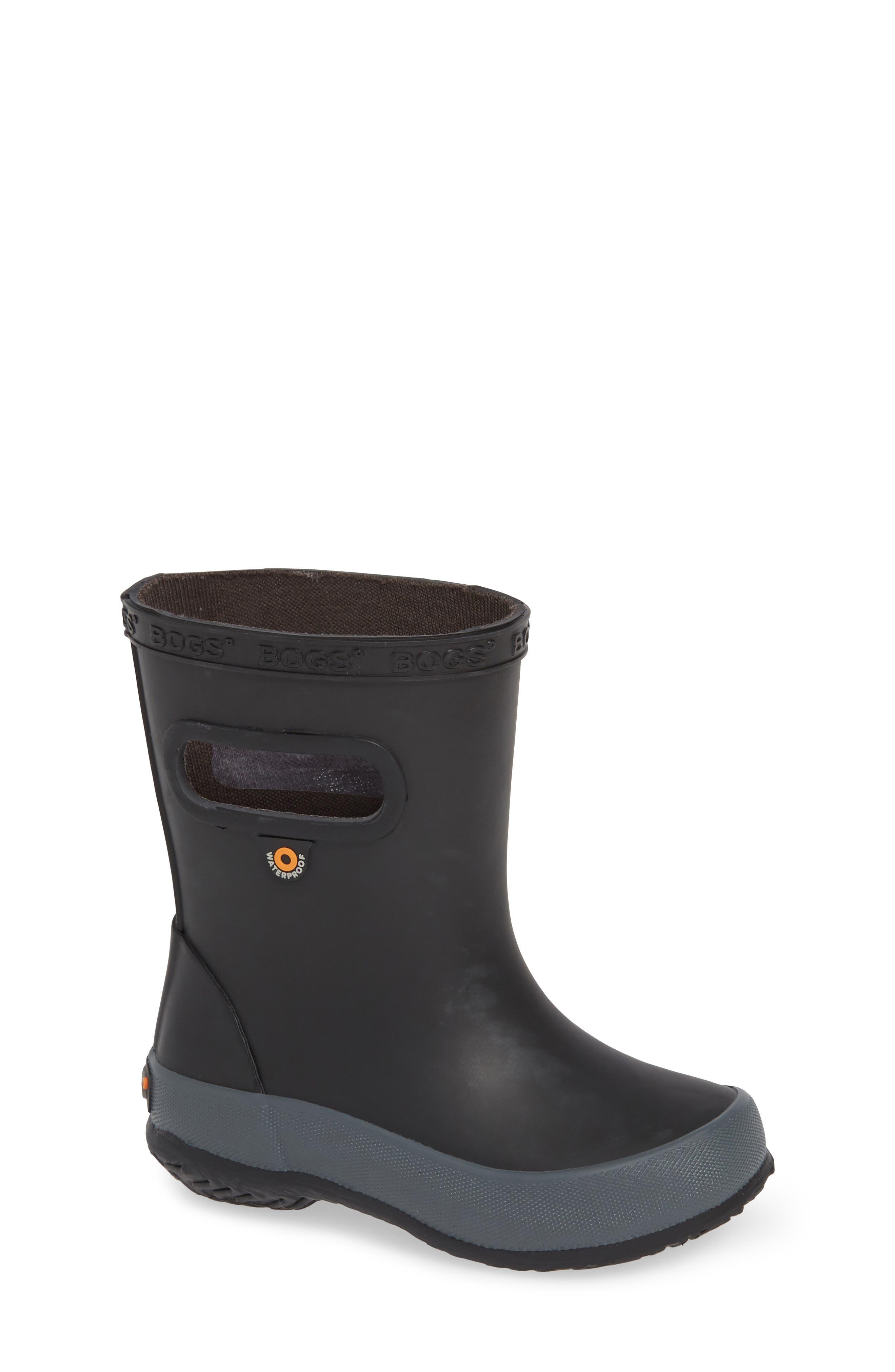 Skipper Solid Rubber Rain Boot, Main, color, BLACK