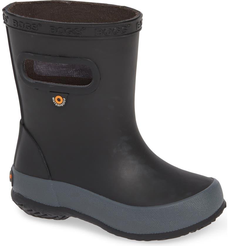 BOGS Skipper Solid Rubber Rain Boot, Main, color, BLACK