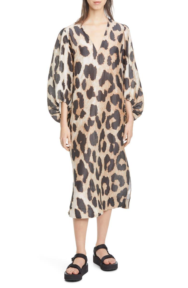 GANNI Leopard Print Long Sleeve Linen & Silk Maxi Dress, Main, color, MAXI LEOPARD 994