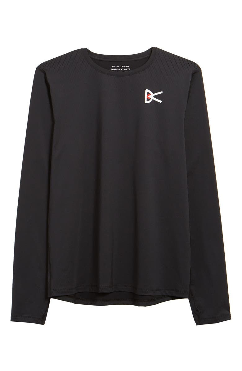 DISTRICT VISION Air—Wear Performance Long Sleeve Graphic Tee, Main, color, BLACK