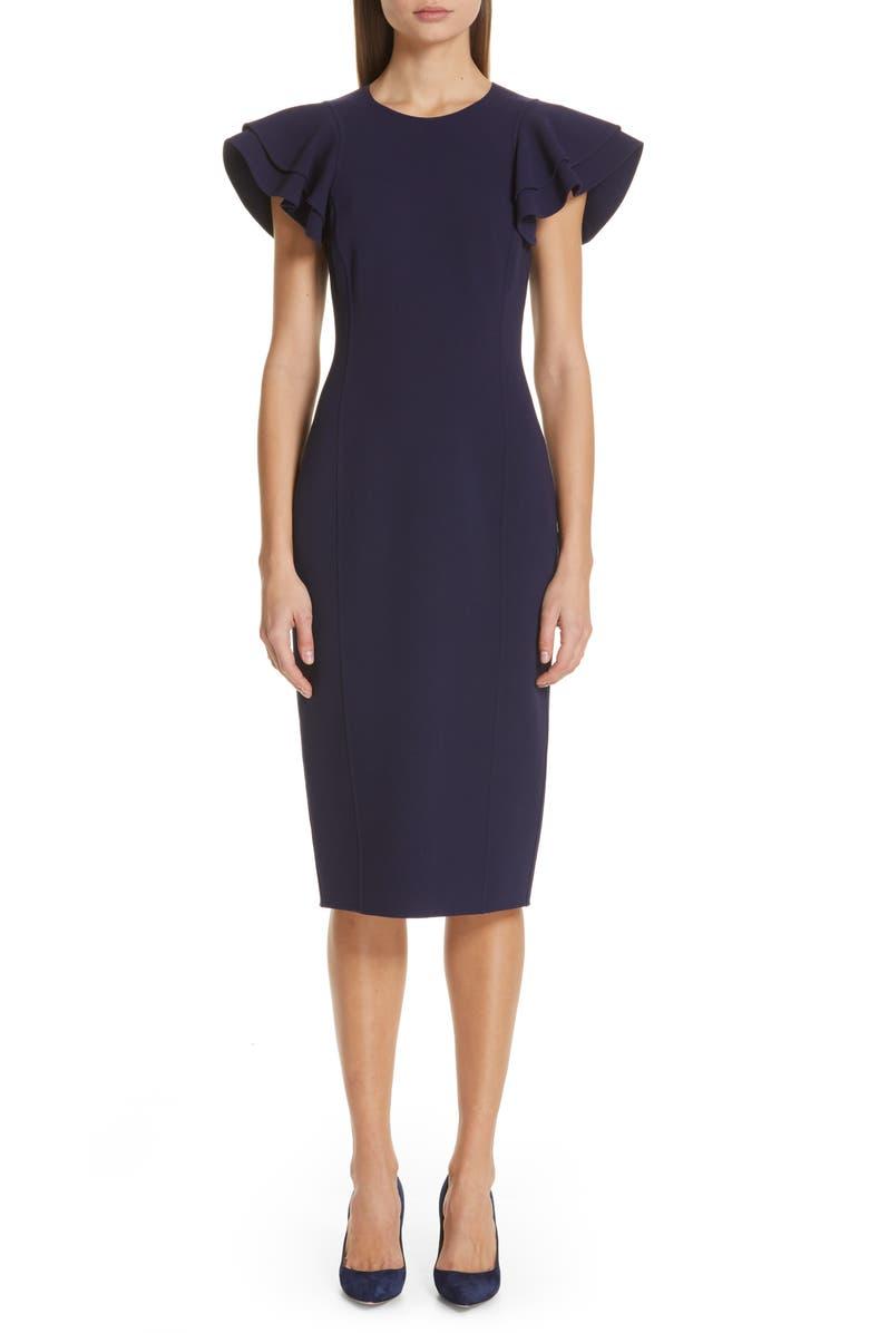 MICHAEL KORS Flutter Sleeve Sheath Dress, Main, color, 403