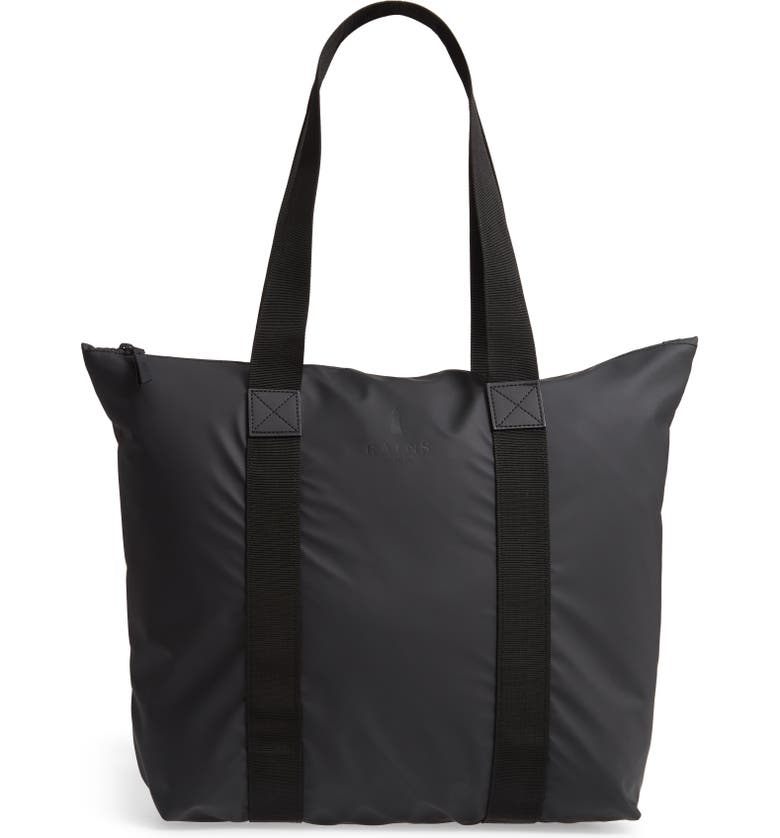 RAINS Rush Waterproof Tote, Main, color, BLACK