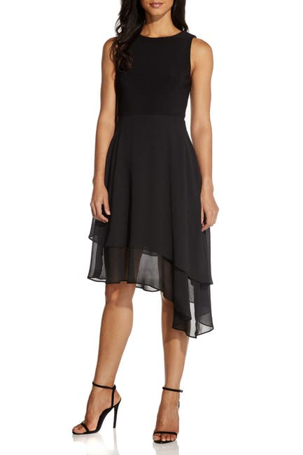 Image of Adrianna Papell Chiffon Tiered Sleeveless Fit & Flare Dress
