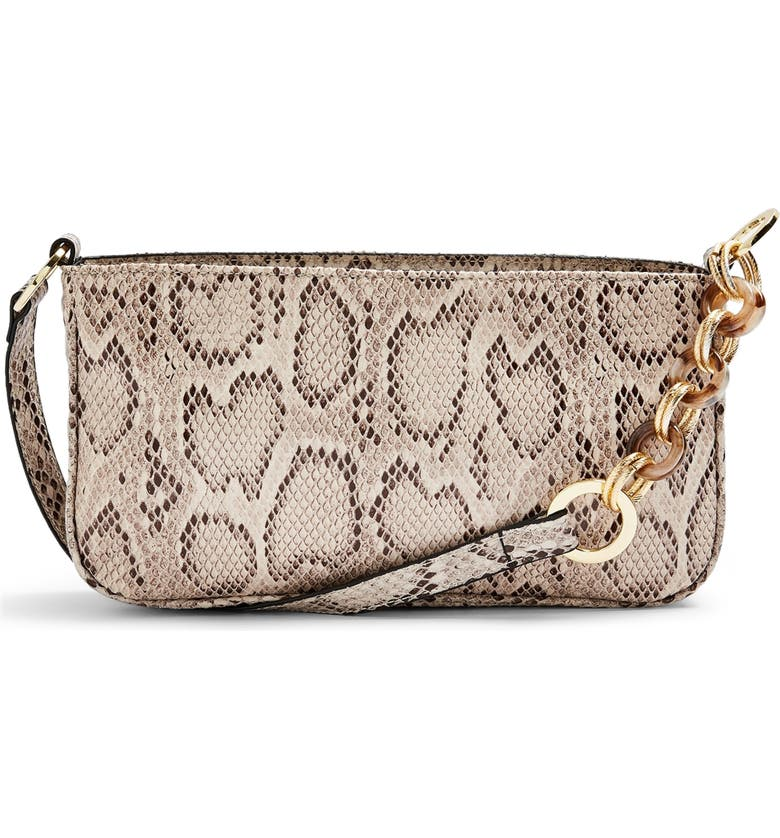 TOPSHOP Spin Snake Print Shoulder Handbag, Main, color, BEIGE MULTI