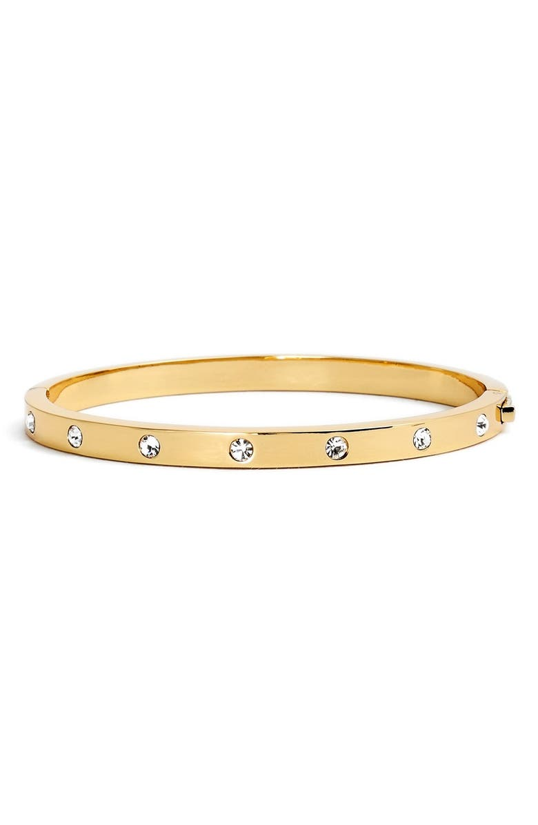 KATE SPADE NEW YORK crystal hinge bangle, Main, color, GOLD