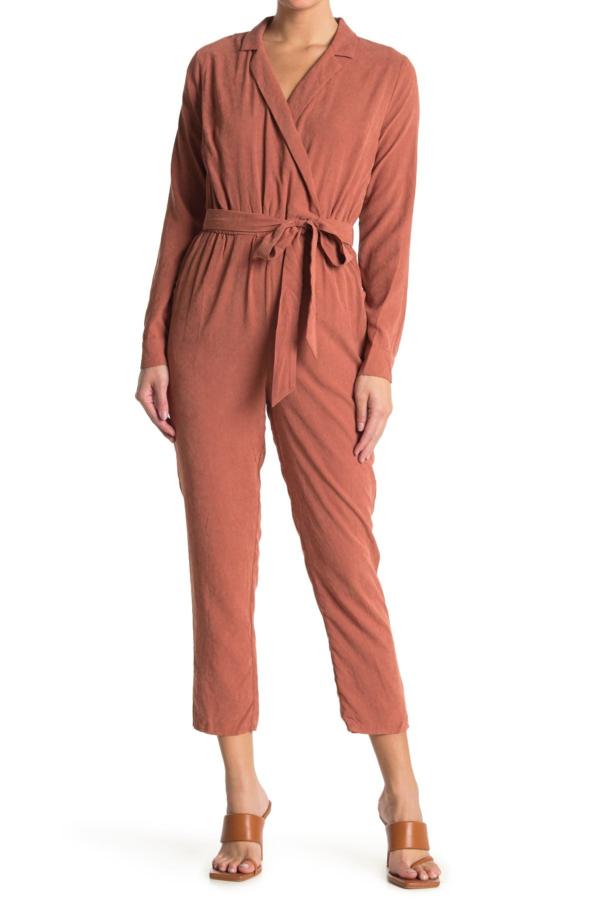 Image of LOST + WANDER Orchard Belted Long Sleeve Jumpsuit