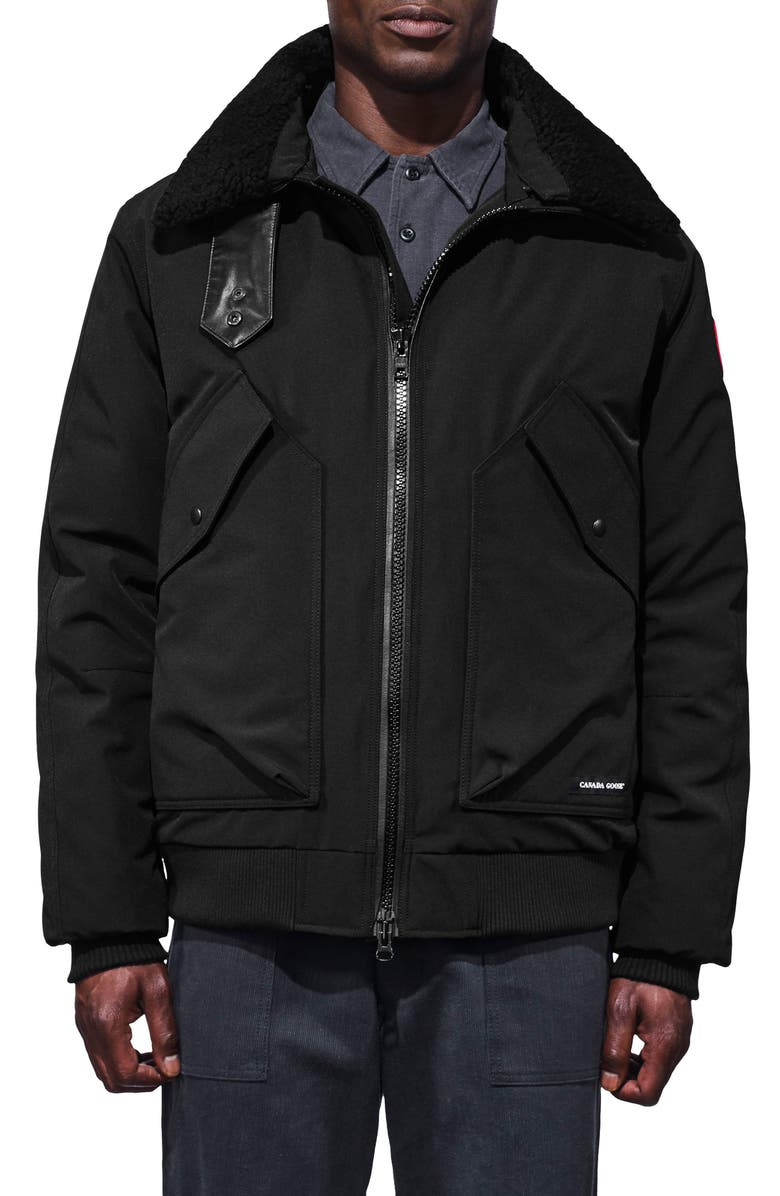 CANADA GOOSE Bromley Slim Fit Down Bomber Jacket with Genuine Shearling Collar, Main, color, BLACK