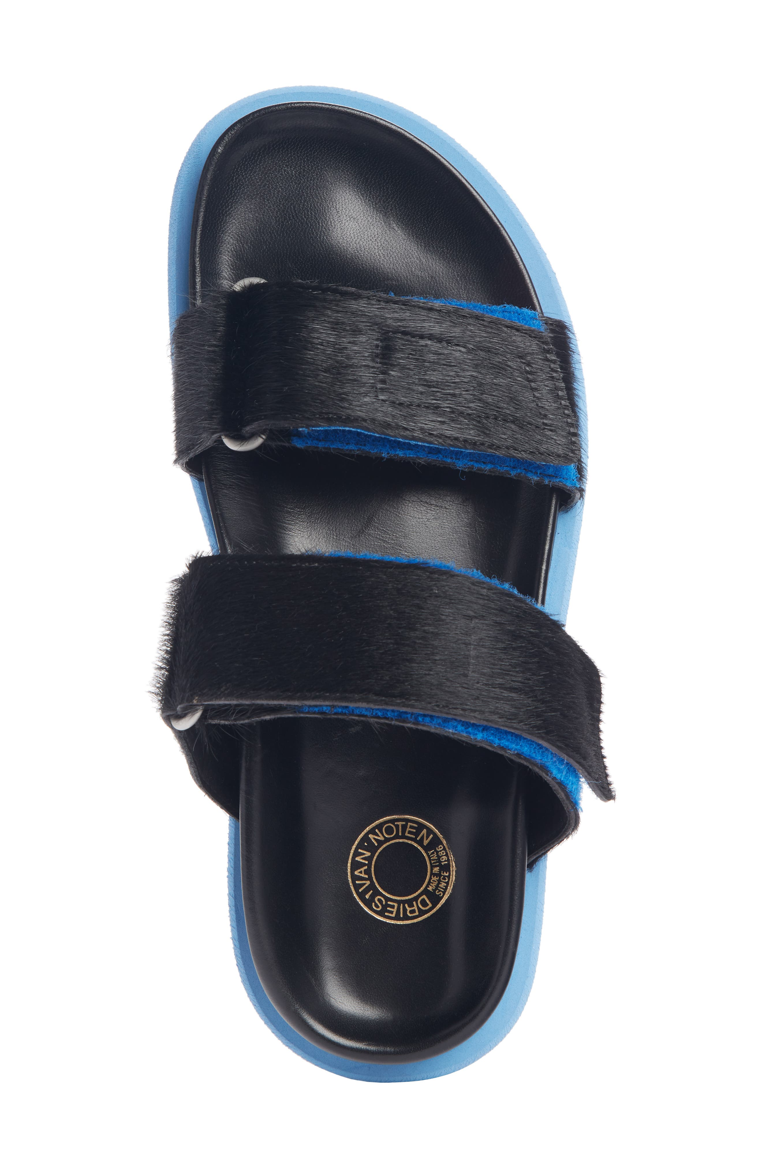 ,                             Genuine Calf Hair Double Band Sandal,                             Alternate thumbnail 4, color,                             BLACK