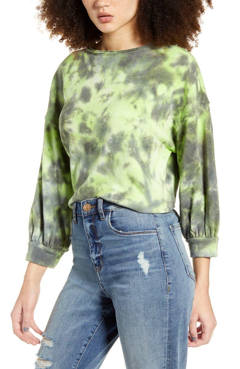 BP. Tie Dye Crewneck Sweatshirt, Main, color, GREEN PUNCH TIE DYE