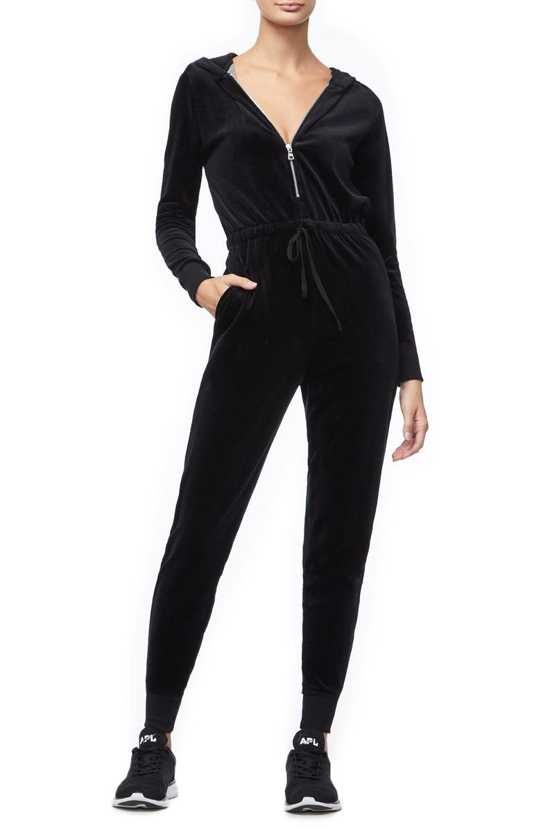 Good American Hooded Velour Jumpsuit Regular Plus Size Nordstrom