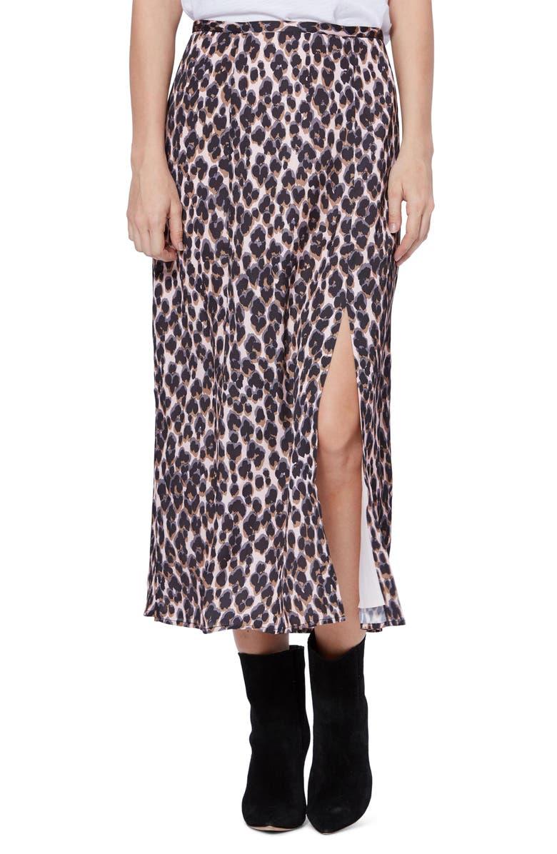 PAIGE Delfina Leopard Print Skirt, Main, color, ZEPHYR / SHALE