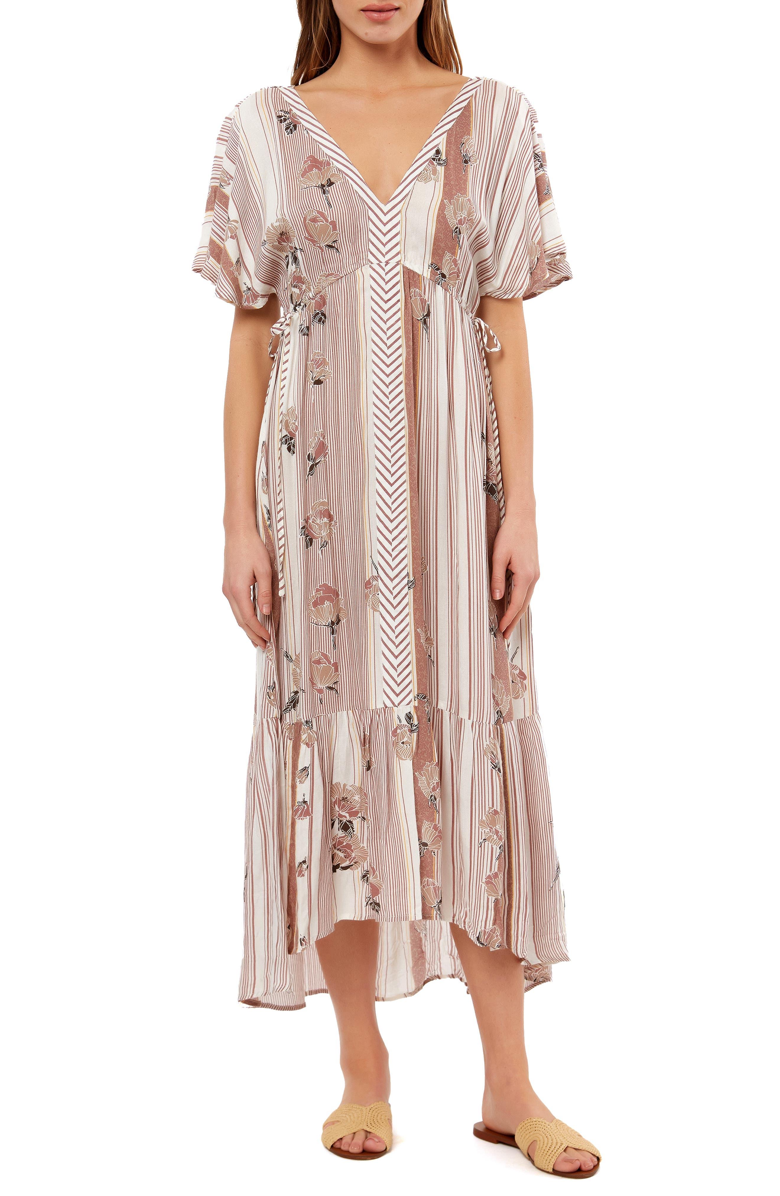 ,                             Angie Floral Stripe Midi Dress,                             Main thumbnail 1, color,                             MULTI COLORED
