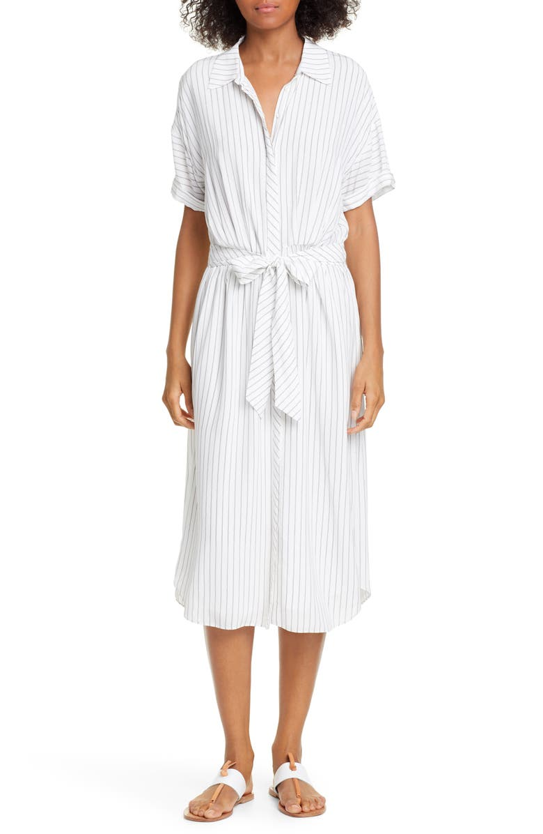 JOIE Chellie Stripe Shirtdress, Main, color, PORCELAIN