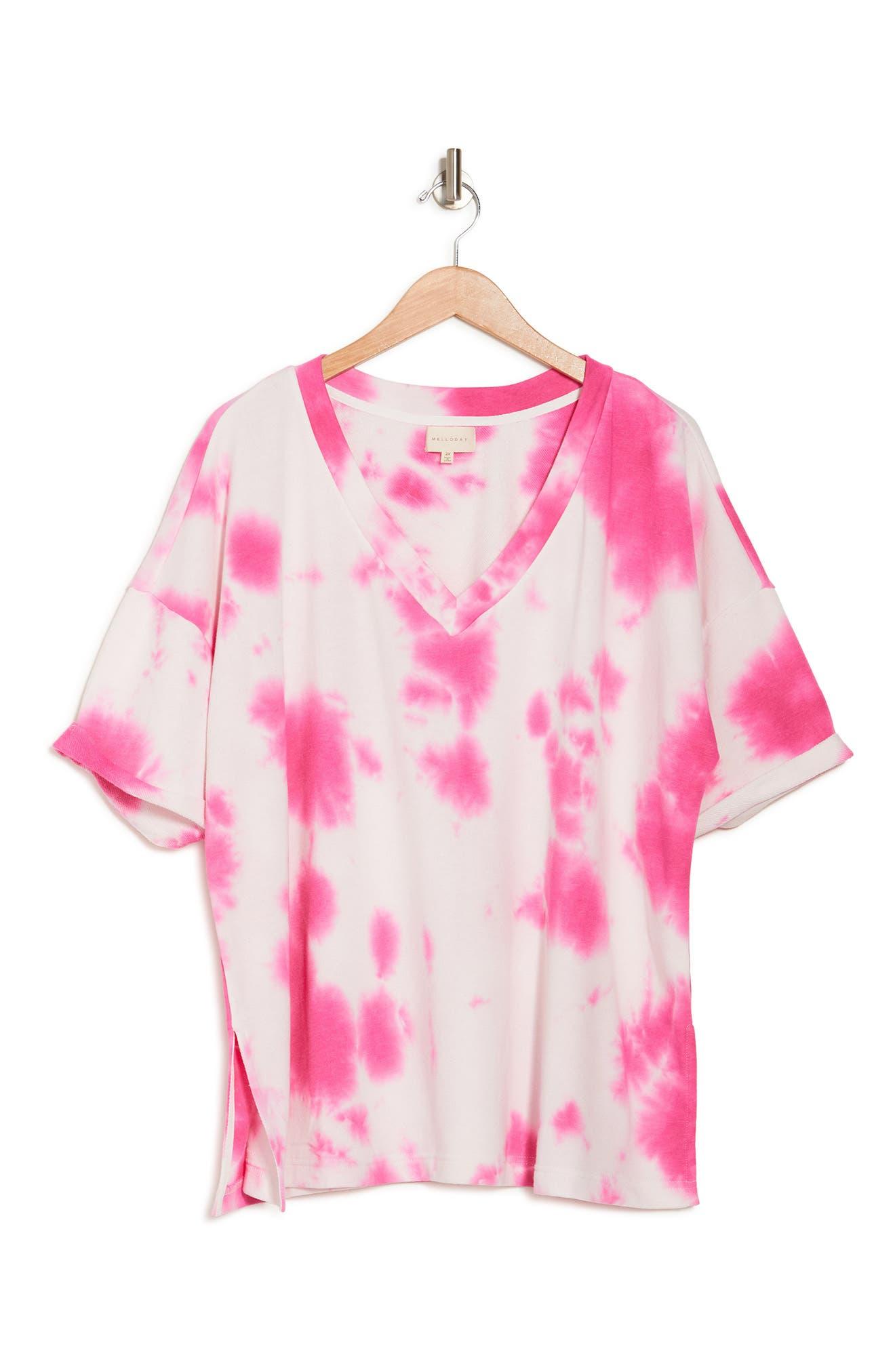 Melloday Tie-dye V-neck T-shirt In Hot Pink