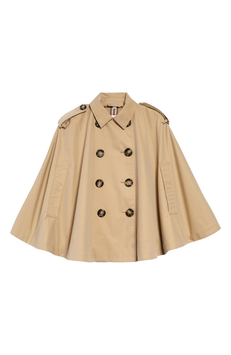 BURBERRY Leanne Trench Cape Coat, Main, color, HONEY