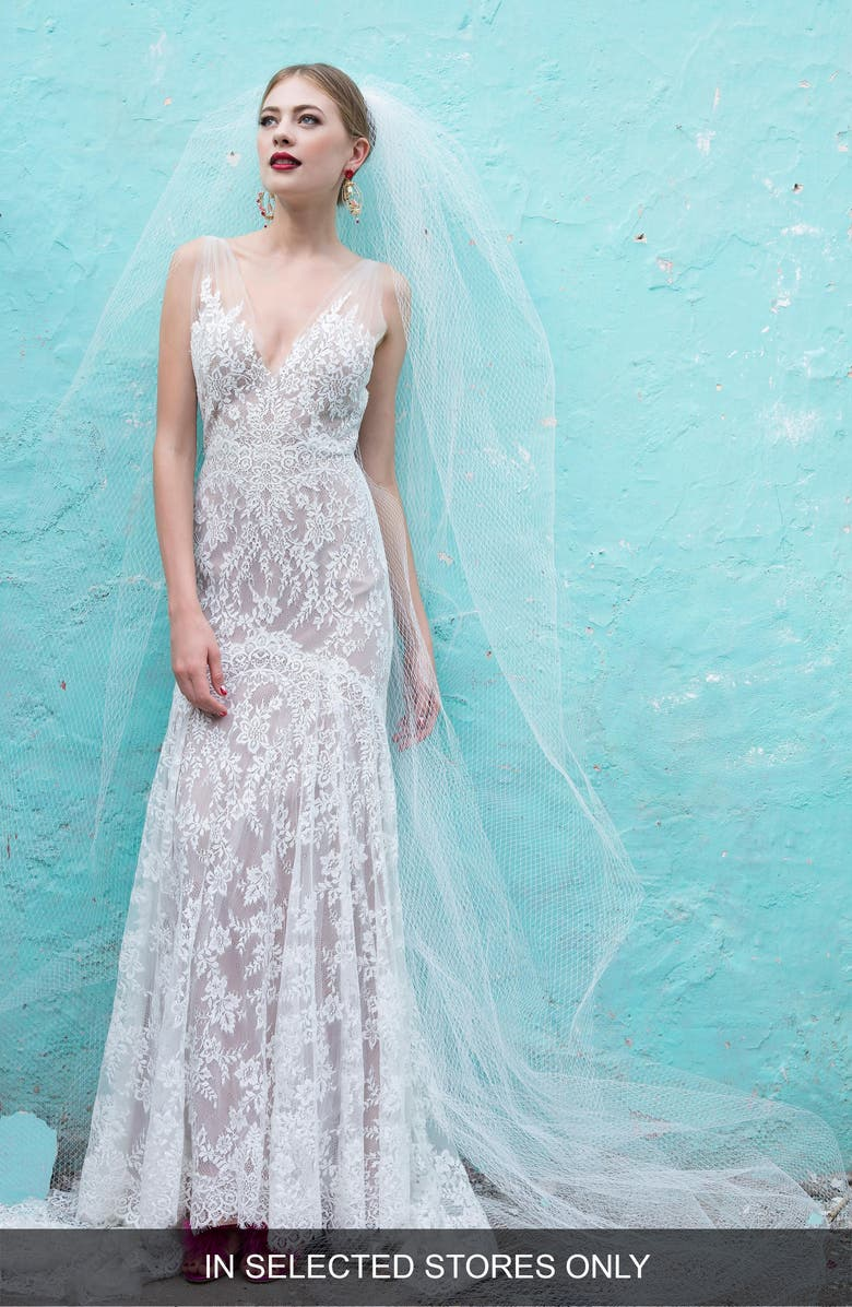 Kiefer Silk Lace Trumpet Gown by Watters
