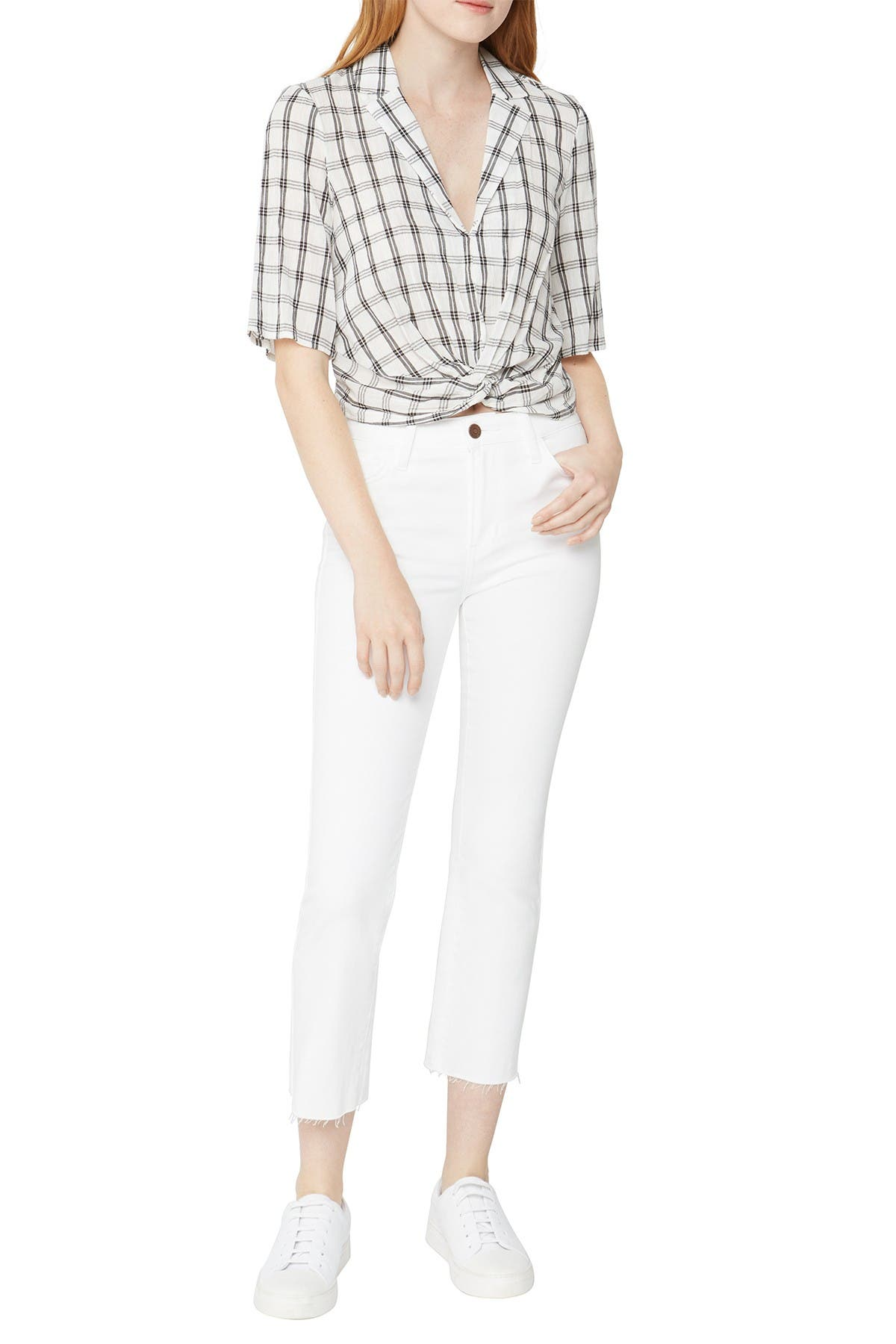 Image of BCBGeneration Plaid Cropped Twist Front Top