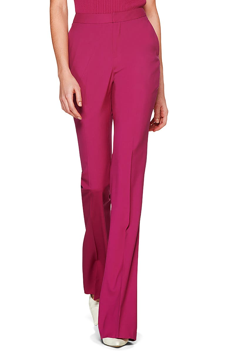 SUISTUDIO Robin Classic High Waist Flare Wool Trousers, Main, color, MAGENTA