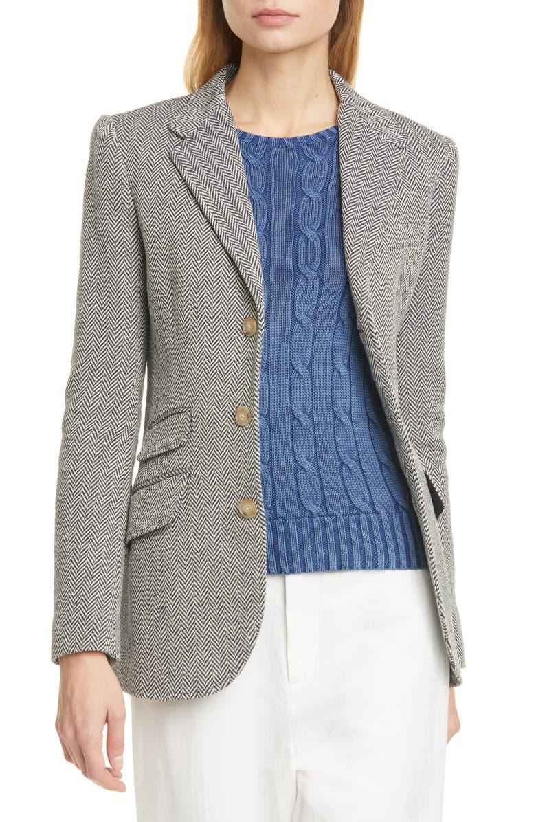 POLO RALPH LAUREN Silk & Linen Blend Herringbone Jacket, Main, color, 400