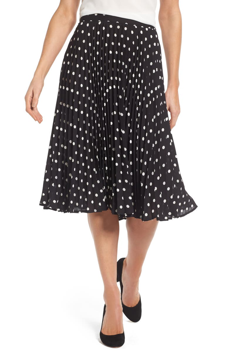 VINCE CAMUTO Polka Dot Pleat Skirt, Main, color, 006