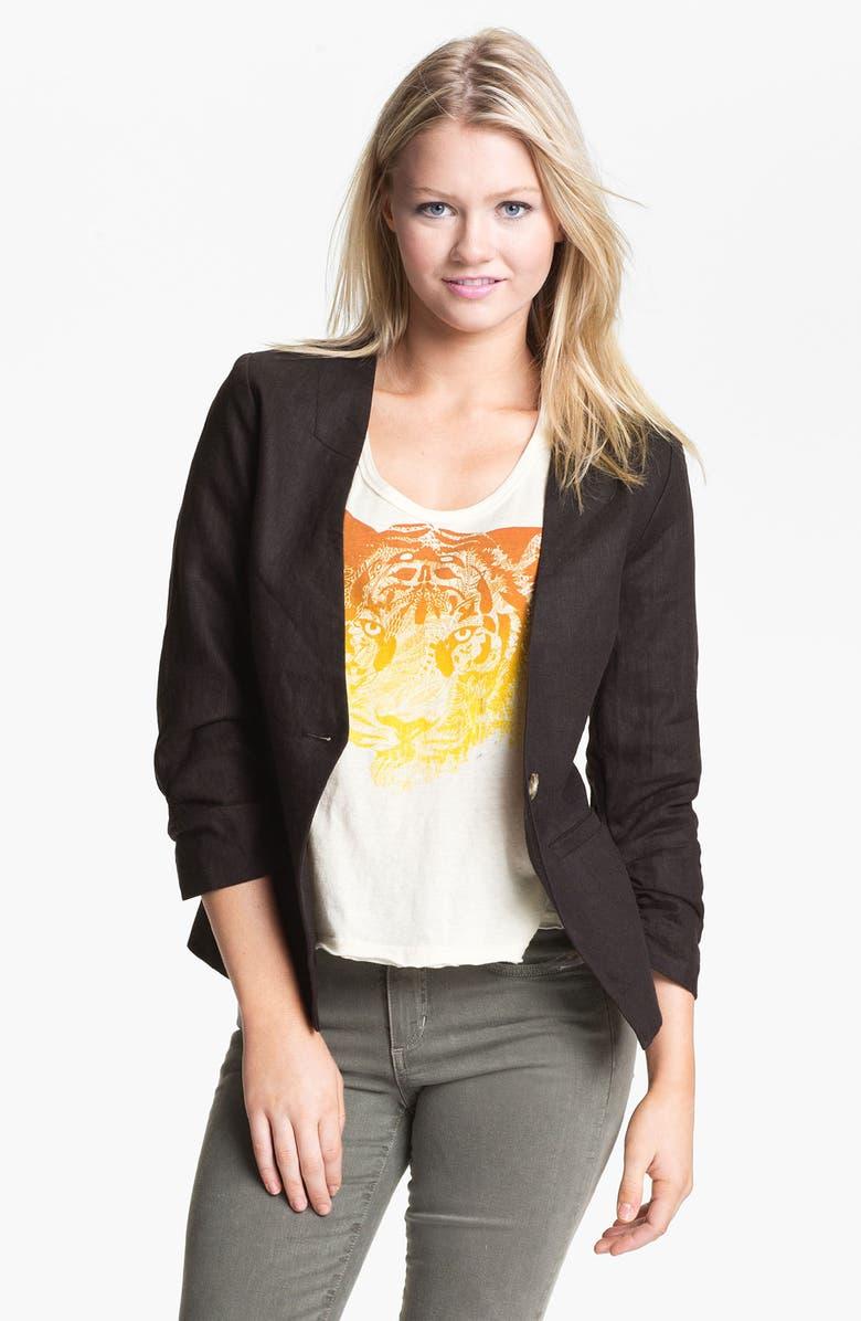 GIBSON Collarless Linen Blazer, Main, color, 001