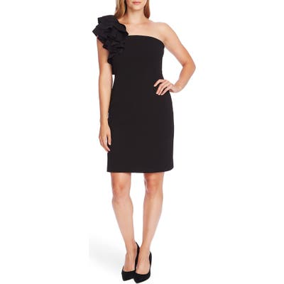 Vince Camuto Ruffle Detail One-Shoulder Crepe Sheath Dress, Black