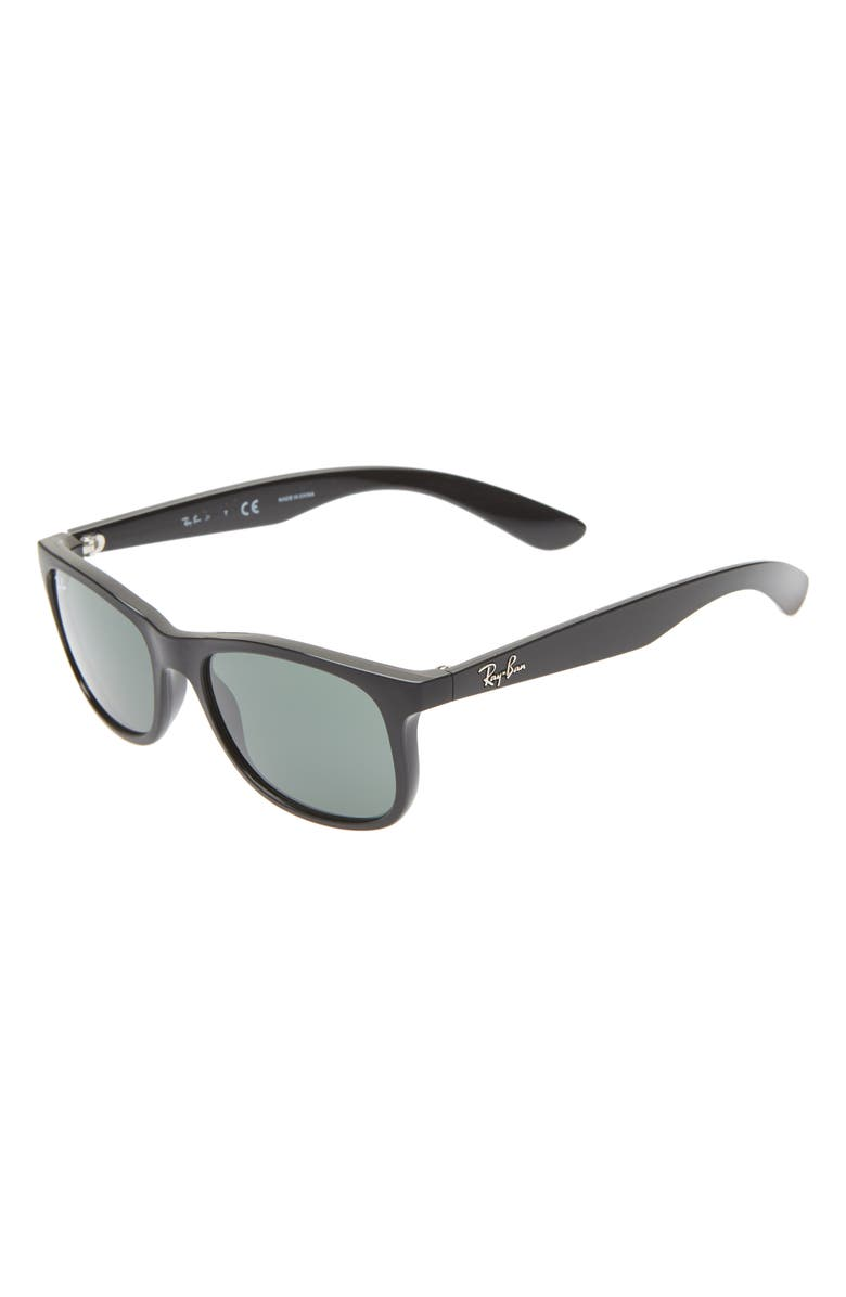 RAY-BAN Junior 48mm Wayfarer Sunglasses, Main, color, MATTE BLACK/ BLACK SOLID