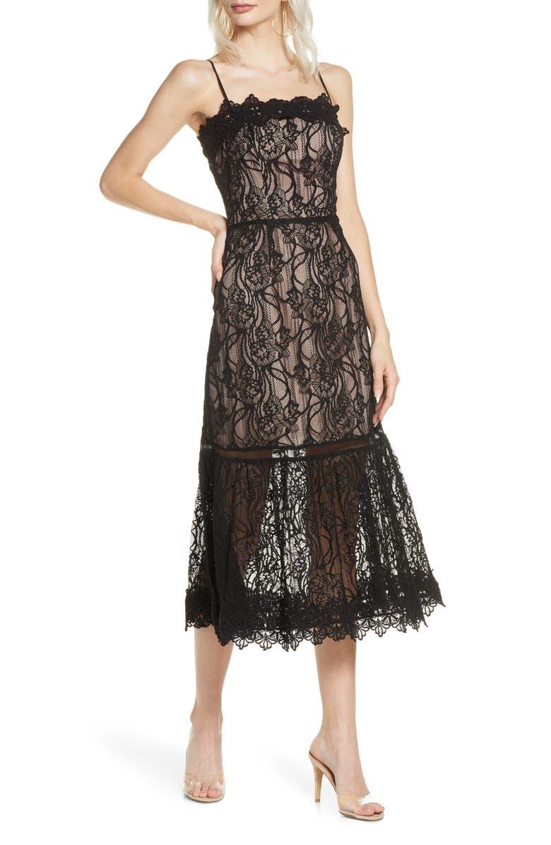 BB DAKOTA Scalloped Lace Midi Dress, Main, color, BLACK