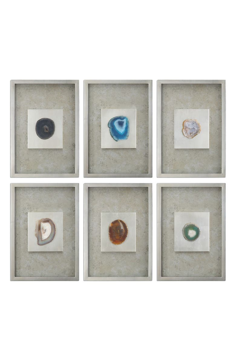 UTTERMOST Agate Stone Set of 6 Shadow Boxes, Main, color, BLUE/ GRAY