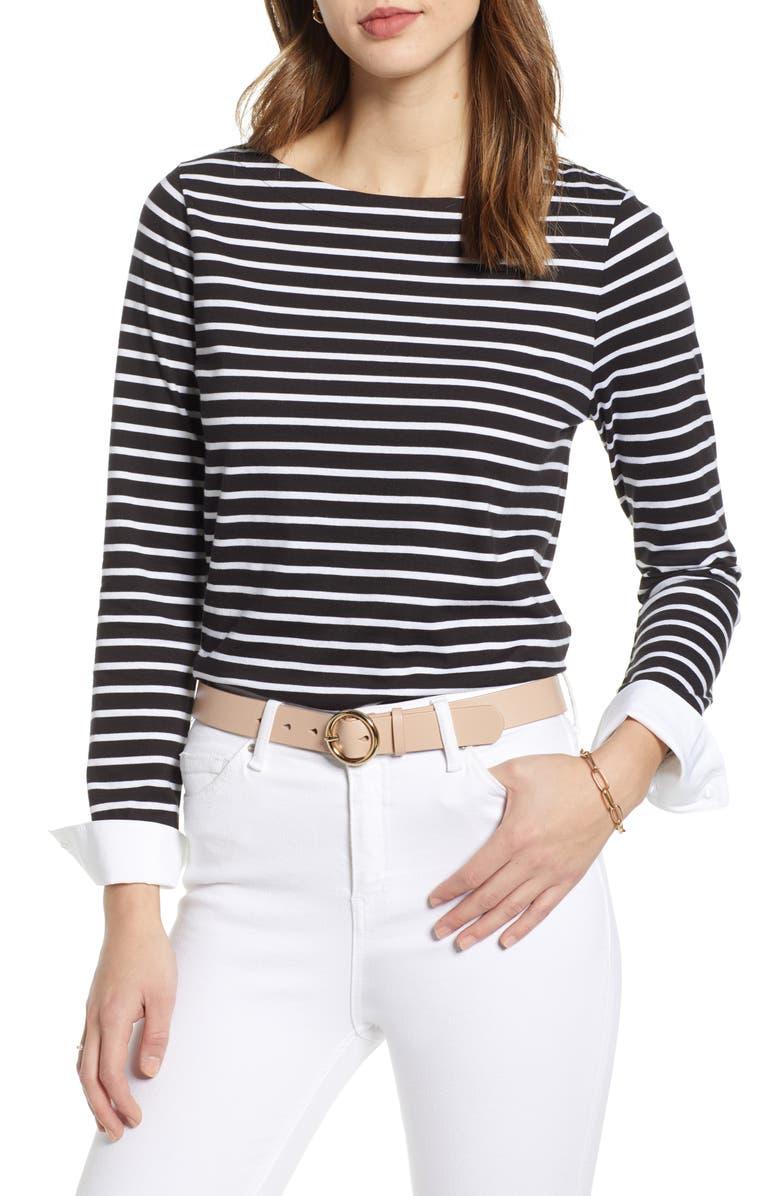 1901 Long Sleeve Stripe Top, Main, color, BLACK- WHITE DANA STRIPE