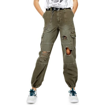 Topshop Distressed Cuffed Utility Cargo Pants, US (fits like 0) - Green