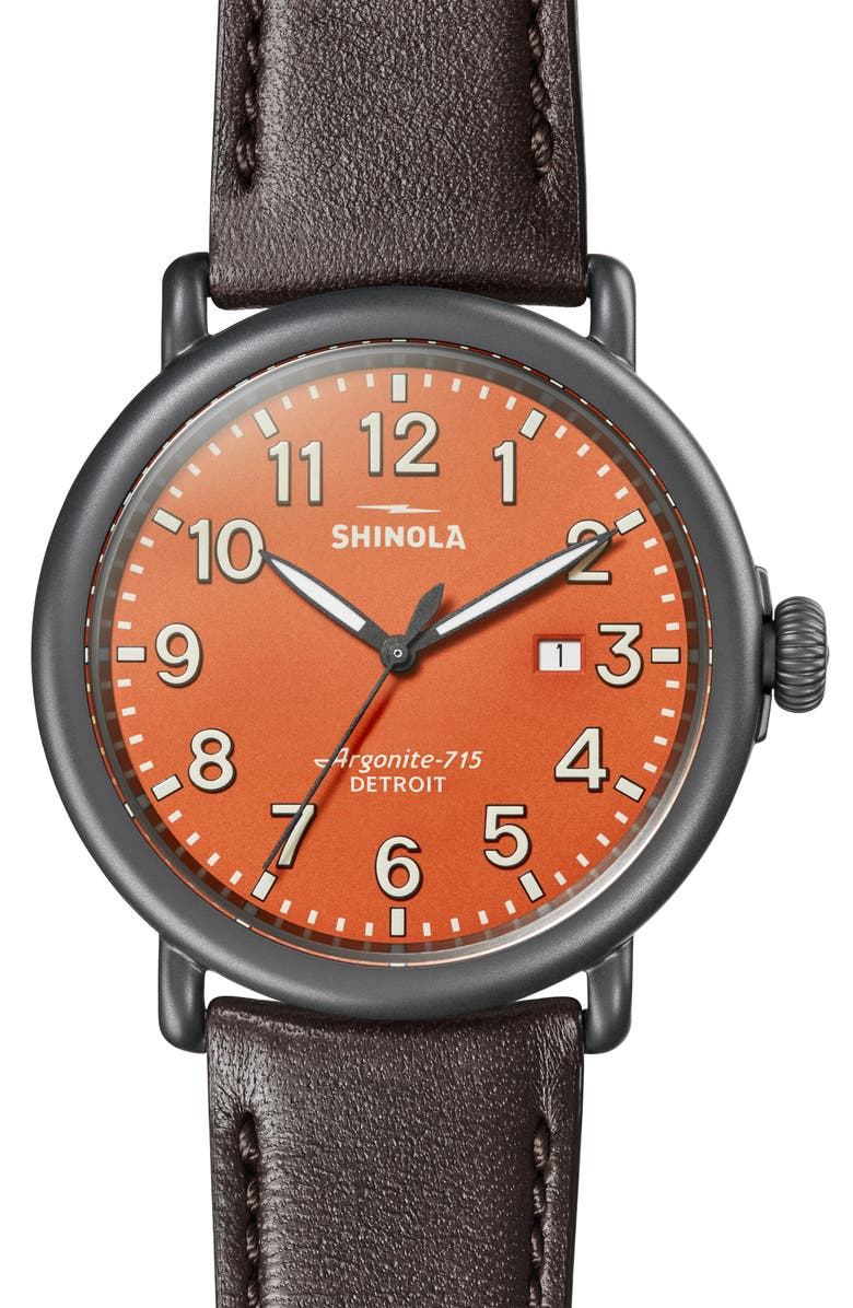 SHINOLA Runwell Leather Strap Watch, 47mm, Main, color, 025