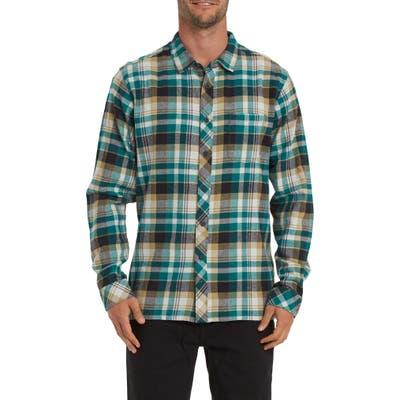 Billabong Coastline Plaid Flannel Button-Up Shirt, Green