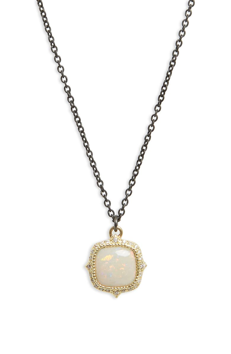 ARMENTA Old World Cushion Opal Drop Necklace, Main, color, BLACKENED SILVER/ GOLD