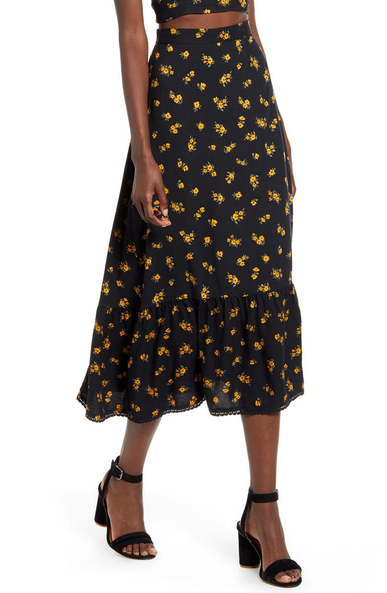 TEN SIXTY SHERMAN Floral Ruffle Hem Midi Skirt, Main, color, BLACK FLORAL