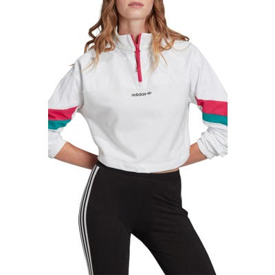 Adidas Originals Crop Quarter Zip Pullover, White