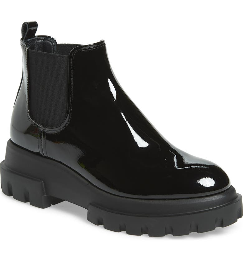 AGL Lugged Sole Chelsea Boot, Main, color, BLACK PATENT